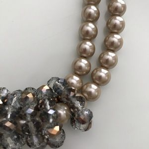 Chunky faux pearl and crystal statement necklace